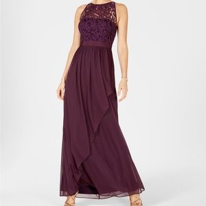 Adrianna Papell Lace Illusion Halter Gown NWT